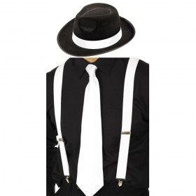 Gangster Set- Trilby Hat, Tie & Braces (White)