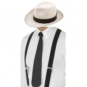 Gangster Set- White Trilby Hat, Black Tie & Black Braces