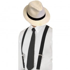 Gangster Set- White Pinstripe Trilby Hat, Black Tie & Black Braces