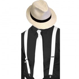 Gangster Set- White Pinstripe Trilby Hat, White Tie & White Braces