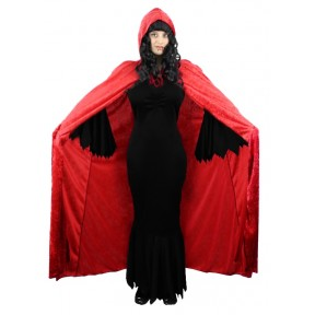 Red Vampiress with Hooded Cape, Fangs & Blood, Halloween Ladies Vamp Fancy Dress