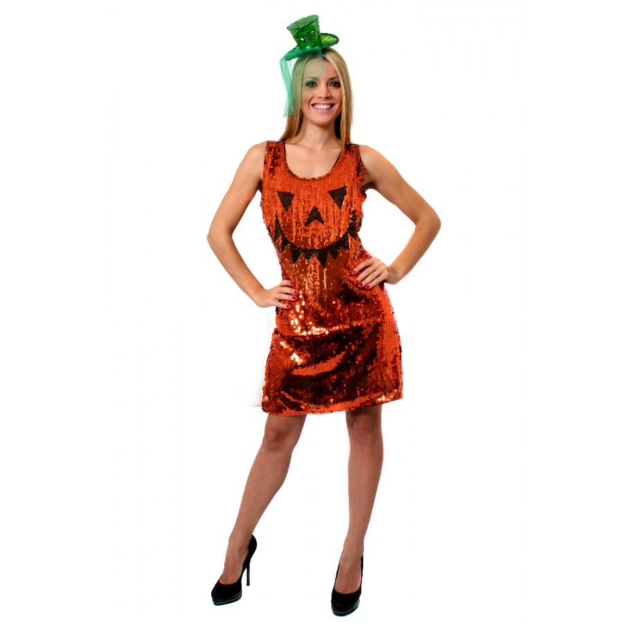 Womens Sequin Pumpkin Halloween Dress