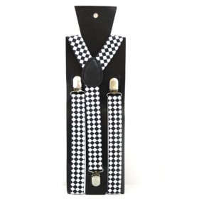 Adjustable Black and White Checkered Braces
