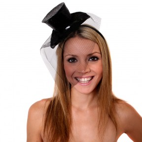 Burlesque Sparkling Black Mini Glitter Fascinator Top Hat