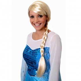 Ladies Snow Queen Blonde Plait Wig