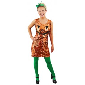 Sequin Pumpkin Halloween Dress