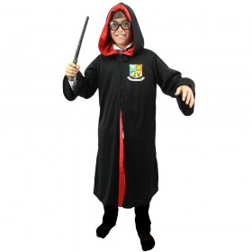 Childs Black Wizard Robe With Red Lining