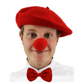 Red Nose Day Set - Beret, Nose + Bowtie