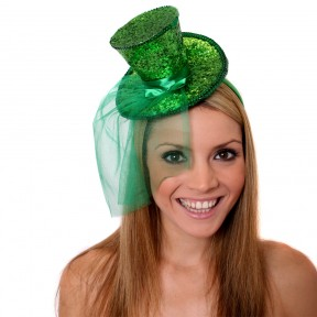 Burlesque Sparkling Green Mini Glitter Fascinator Top Hat