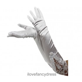 Long White Satin Lace Sequin Gloves