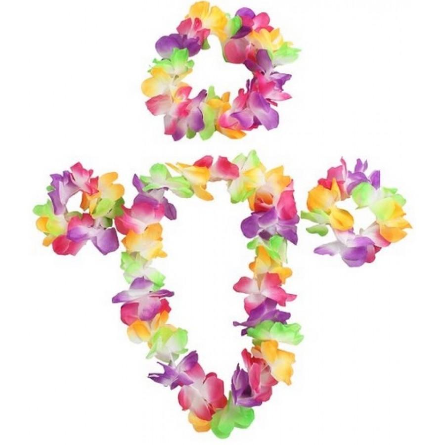 Hawaiian lei set flower necklace bracelets and headband izmirmasajfo