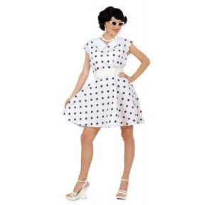 50's Lady Polka Dot Costume - Black and White Polka Dot Dress