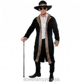 ADULT 70S PIMP BLACK VELOUR LEOPARD PRINT FANCY DRESS COSTUME VELVET GANGSTER