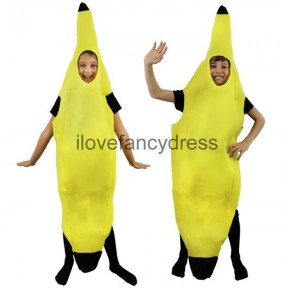 BANANA FANCY DRESS COSTUME KIDS FRUIT NOVELTY OUTFIT MEDIUM AGES 9-12