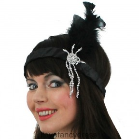 Black Flapper Headband with Feathers