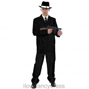 MENS MAFIA GANGSTER BLACK PIN STRIPE SUIT 20S 30S ZOOT FANCY DRESS COSTUME