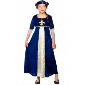 BLUE TUDOR RENAISSANCE PRINCESS COSTUME SCHOOL CURRICULUM FANCY DRESS 4-12 YRS