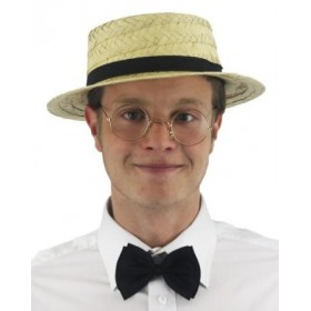 Straw Boater, Clear Round Glasses + Black Bow Tie Set