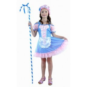 BO PEEP FANCY DRESS GIRLS SHEPHERDESS COSTUME BLUE & PINK BO PEEP LGE