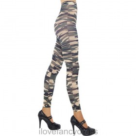 Camouflage Print Footless Tights