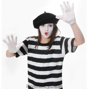 KIDS FRENCH MIME TOP, BERET, FACEPAINT & GLOVES FANCY DRESS COSTUME SET  6 - 16