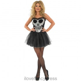 Ladies Glitzy Skull Tutu/Dress