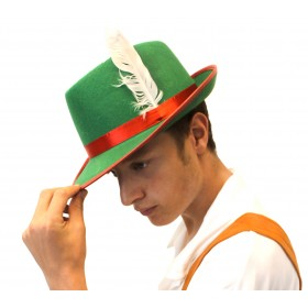 Green Bavarian Hat with Red Ribbon and White Feather