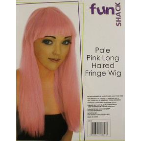 1980's PALE PINK NEON LONG HAIRED FRINGE WIG - 22 INCHES LONG