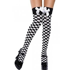 Black and White Check Stockings with White Bow