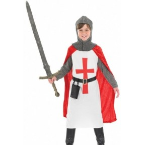 BOYS ST GEORGE KNIGHT CRUSADER COSTUME MEDIEVAL FANCY DRESS KING ARTHUR OUTFIT