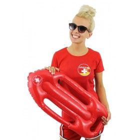 Red Lifeguard T-Shirt With Red Inflatable Float