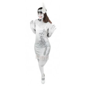 Zombie Sequin Flapper Costume- White