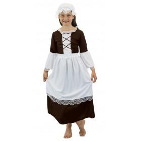 Girls Brown Tudor Maid Costume