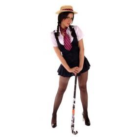 Ladies School Girl Costume Plus Straw Boater Hat