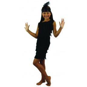 BLACK FRONT FRINGED FLAPPER DRESS CHILDS  FANCY DRESS COSTUME GIRLS