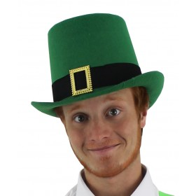 Irish Green Top Hat with Golden Buckle