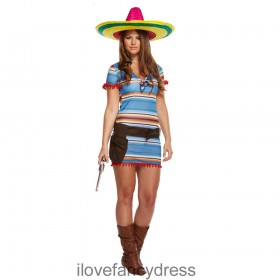 Mexican Lady Poncho Dress Costume