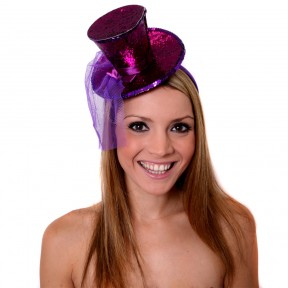 Burlesque Sparkling Purple Mini Glitter Fascinator Top Hat