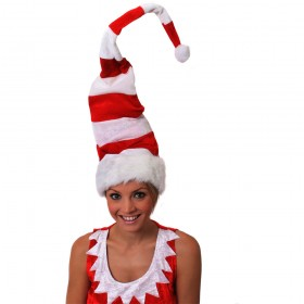 Tall Red and White Striped Wired Santa Hat