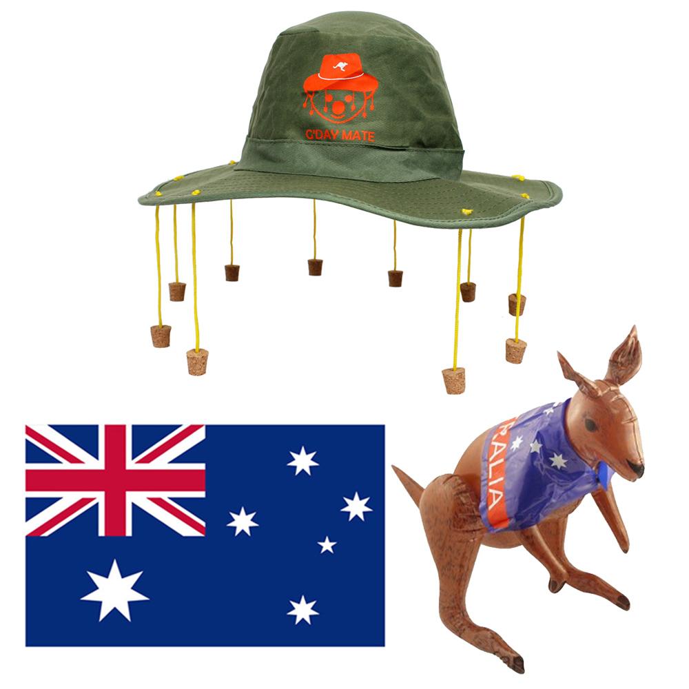 Fancy Dress Inflatable Australia Kangaroo Cork Hat Cricket Rugby Sport Oz Novel