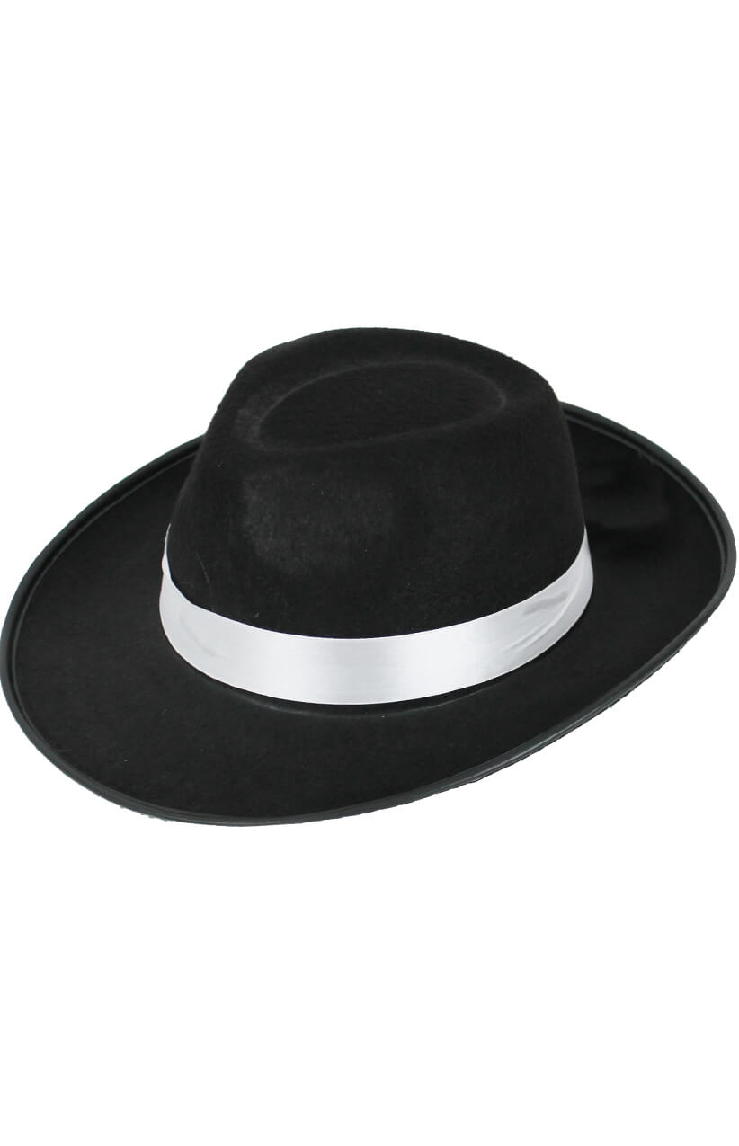 1dabbd48409 Black Felt Trilby Hat with Satin Band - I Love Fancy Dress