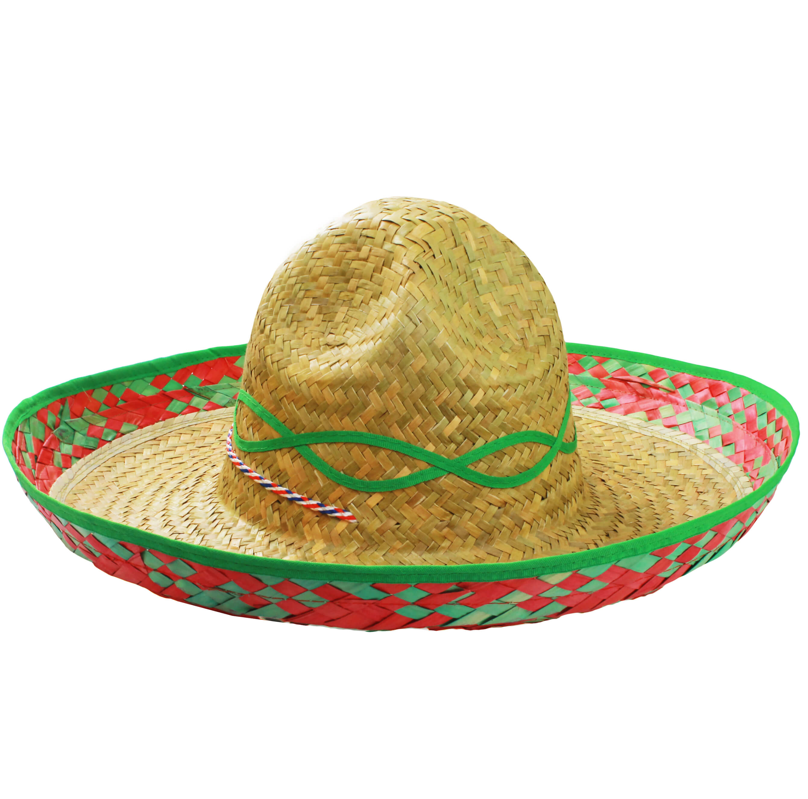 Mexican Sombrero Straw Hat with Green Design - I Love Fancy Dress 2d9a635e4b61