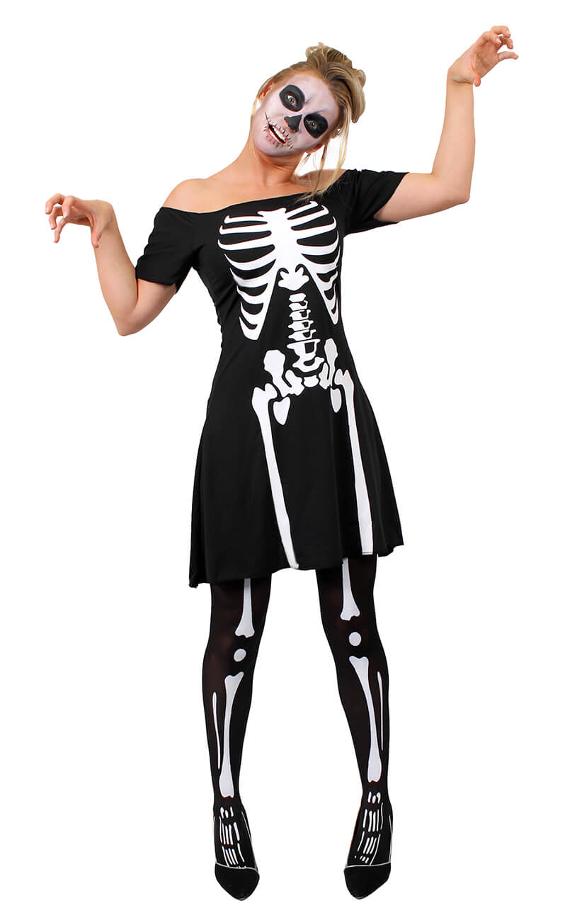 ADULTS LADIES HALLOWEEN SKELETON BODY TIGHTS SCARY HORROR FANCY DRESS ACCESSORY