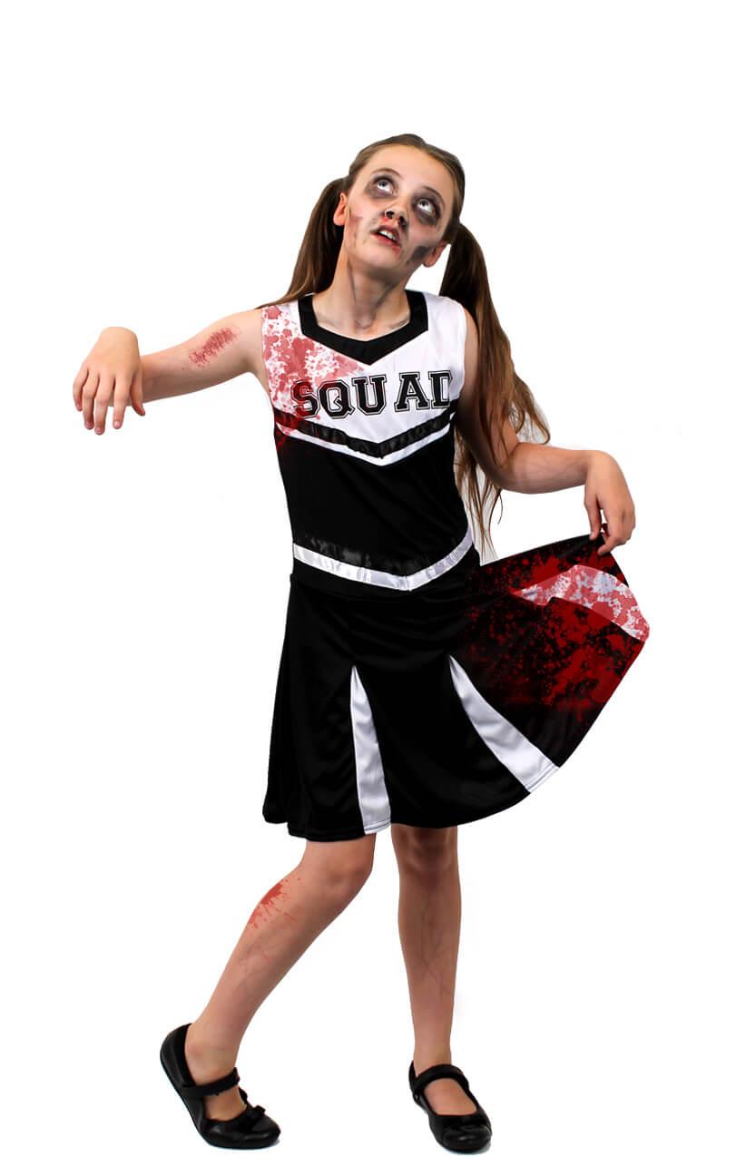 Zombie Cheerleader Halloween Costume For Girls.Girls Black Zombie Cheerleader