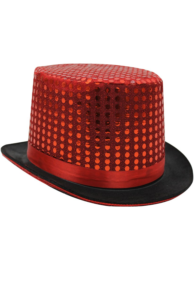 Red Sequin Top Hat - I Love Fancy Dress c1428ce616f0