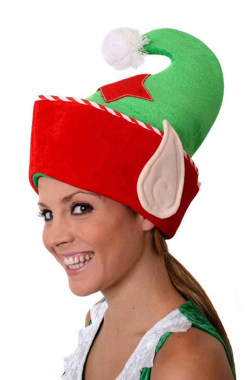 ee40c07a855 Red and Green Elf Hat with Ears - I Love Fancy Dress