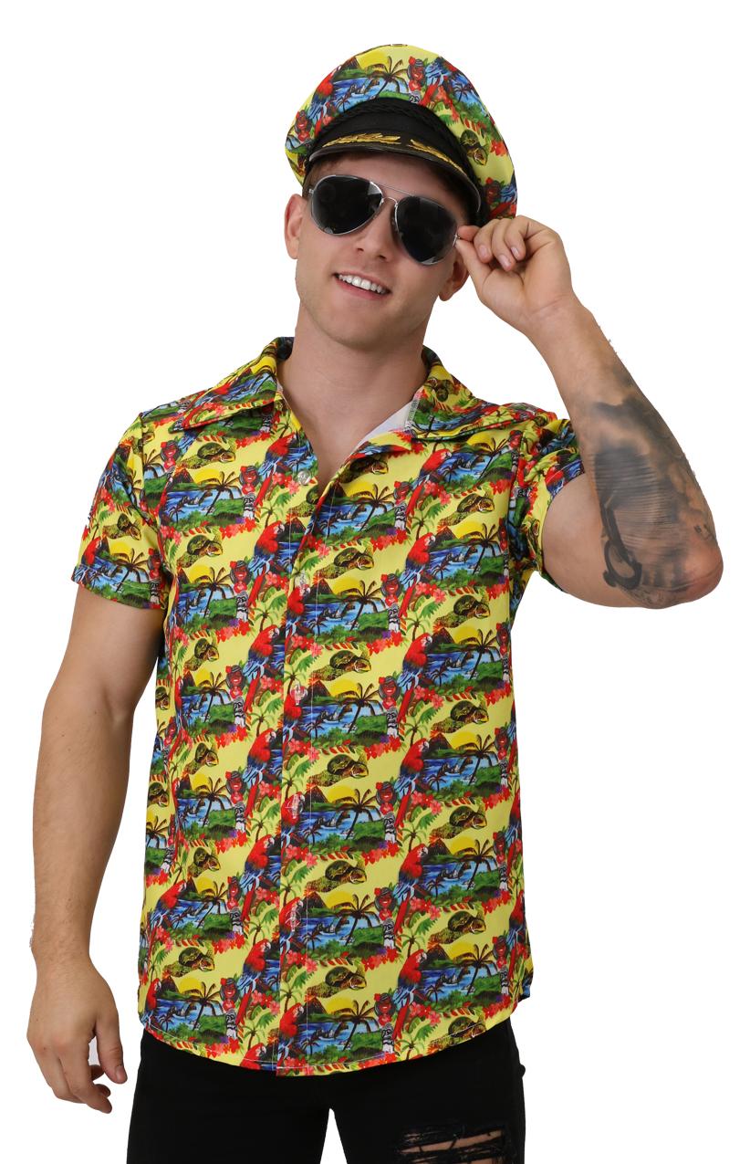 5692490f5 Unisex Hawaiian Print Shirt - Yellow