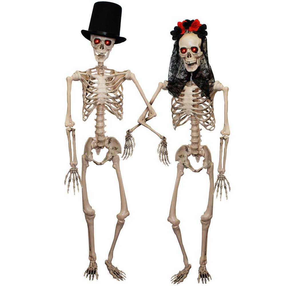 life size skeleton bride + groom prop with flashing eyes - i love