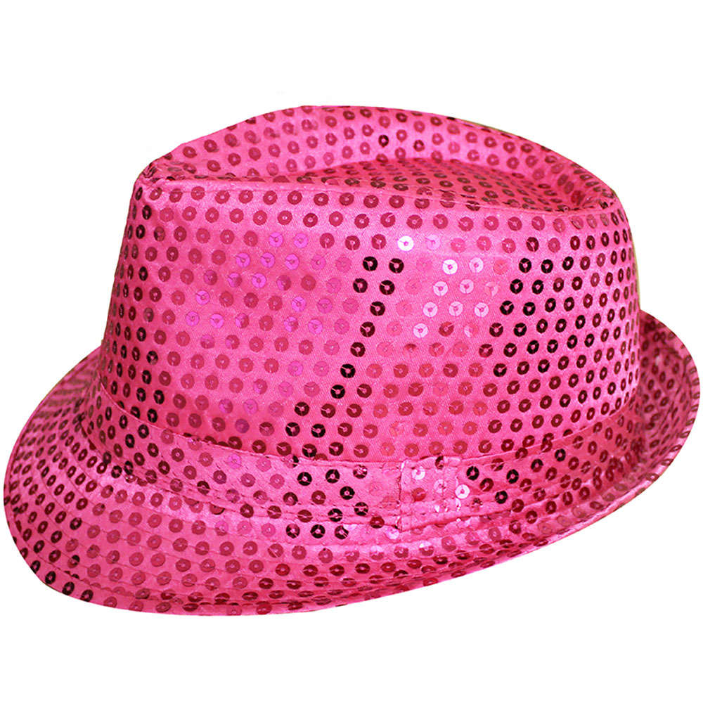 Hot Pink Sequin Fedora Hat 479ca62eff01