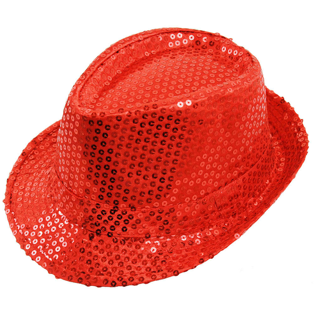 Red Sequin Fedora Hat - I Love Fancy Dress 73a9b2072f6e